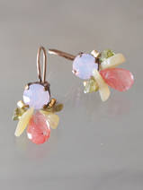 earrings Bee pink crystal and peridot