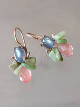 earrings Bee labradorite, chrysoprase