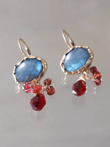 earrings Eye labradorite and garnet