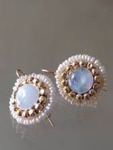 earrings Mandala moonstone and pearls