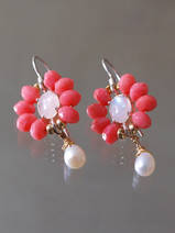 earrings Flower coral and moonstone