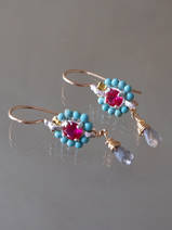 earrings Flower mini, turquoise and fuchsia