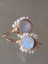 earrings Flower moonstone and pearls
