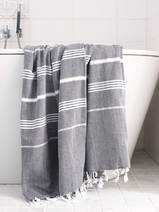 hammam towel black/white