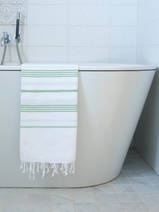 hammam towel white/pistachio green
