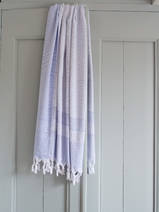 hamam towel with terry cloth, lavender blue