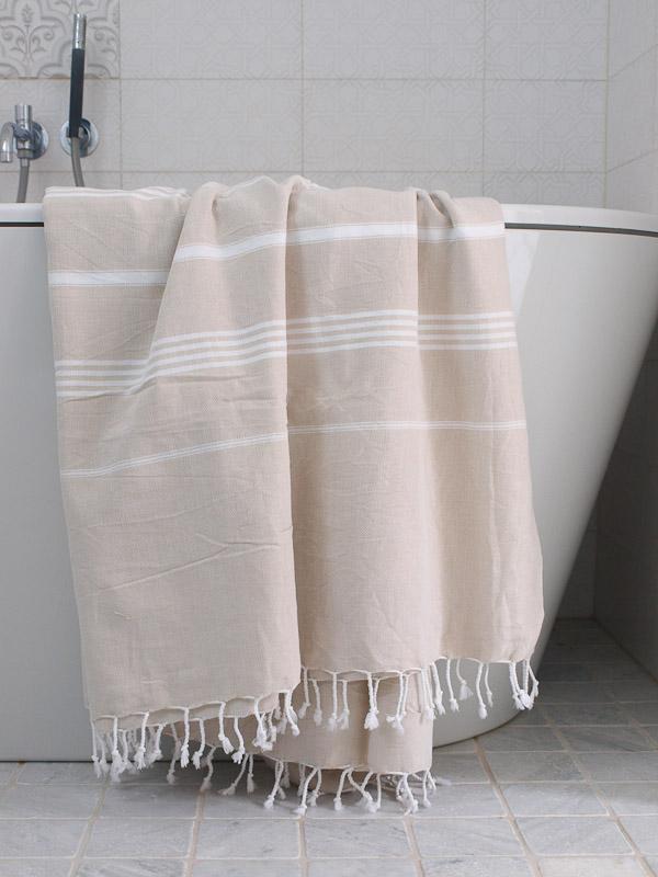Hammam Towel Beige White