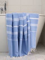 hammam towel lavender blue/white