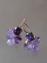 earrings Bee dark purple crystal, amethyst