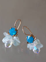 earrings Bee blue crystal, aquamarine