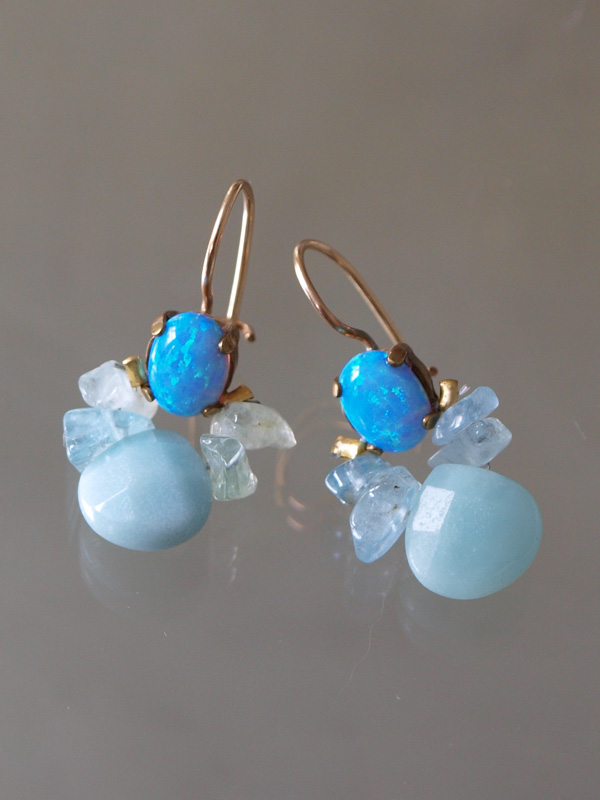 earrings Bee lab. opal, aquamarine, amazonite