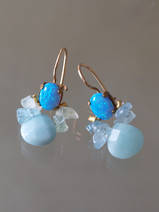 boucles d'oreilles Bee opale, aquamarine, amazonite