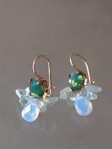 earrings Bee green crystal, aquamarine