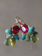 earrings Bee fuchsia crystal, turquoise