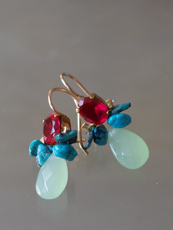 earrings Bee fuchsia and light green crystal
