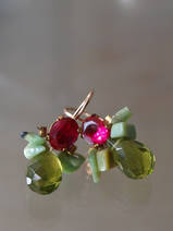 earrings Bee fuchsia crystal, chrysoprase