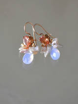 earrings Bee champagne coloured crystal