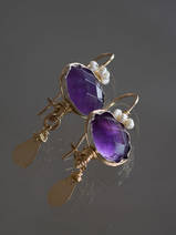 earrings Crown amethyst and pearl