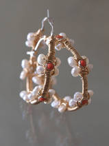 earrings Hoop pearls and coral
