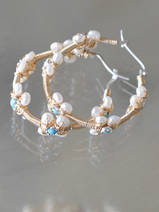 earrings Hoop pearls and turquoise
