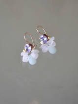 earrings Bee lilac crystal and rose quartz