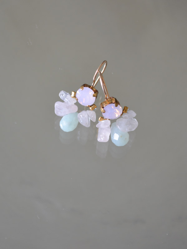 earrings Bee pink crystal, rose quartz