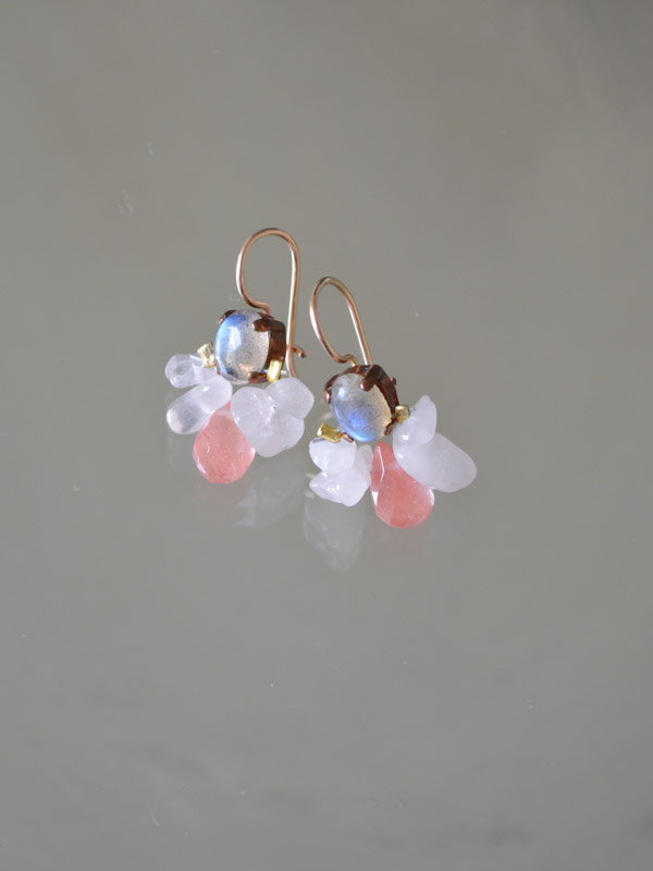 earrings Bee labradorite and rose quartz