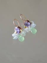 earrings Bee lilac and green crystal
