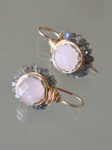 earrings Flower rose quartz and labradorite
