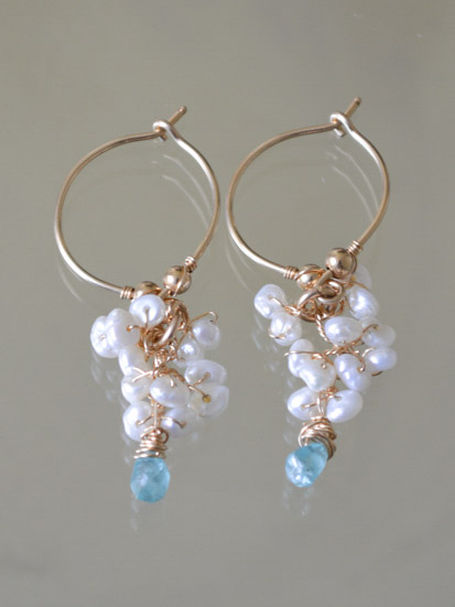 earrings Cluster pearls and apatite