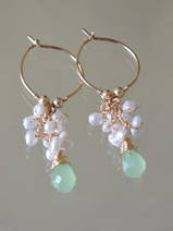 earrings Cluster pearls and green crystal