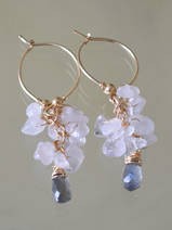 earrings Cluster rose quartz and labradorite