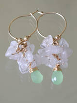 earrings Cluster rose quartz and green crystal