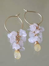 earrings Cluster rose quartz and citrine