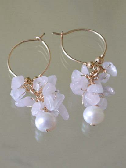 earrings Cluster rose quartz and pearl