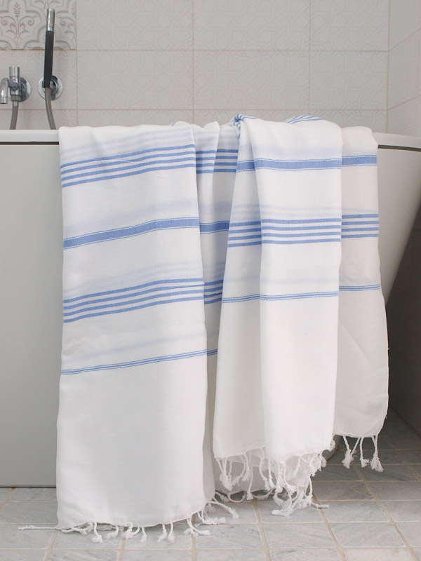 hammam towel white/lavender blue