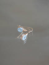 earrings Wire mini, light blue crystal