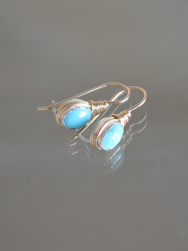 earrings Wire mini, turquoise