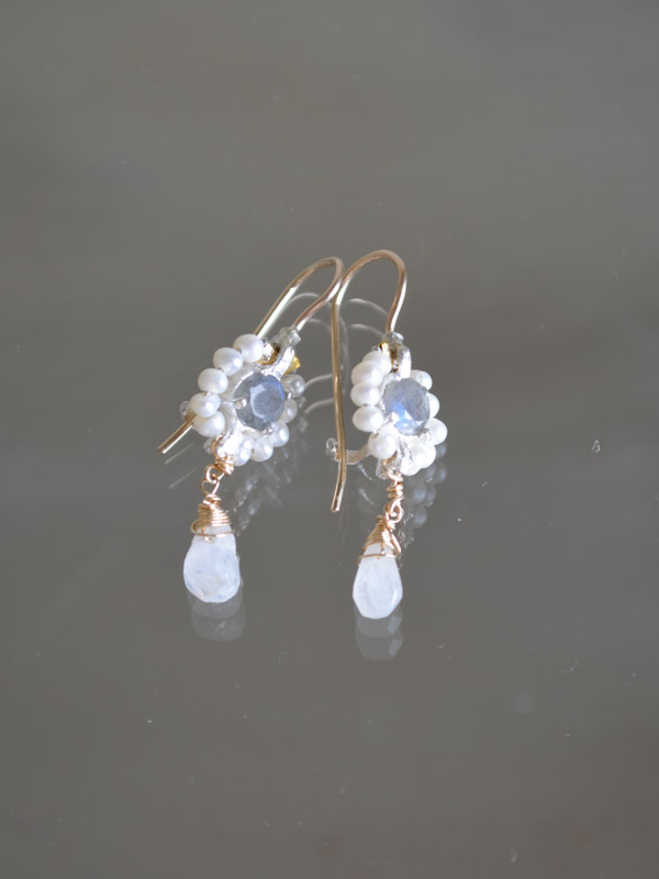 earrings Flower mini, labradorite and pearls