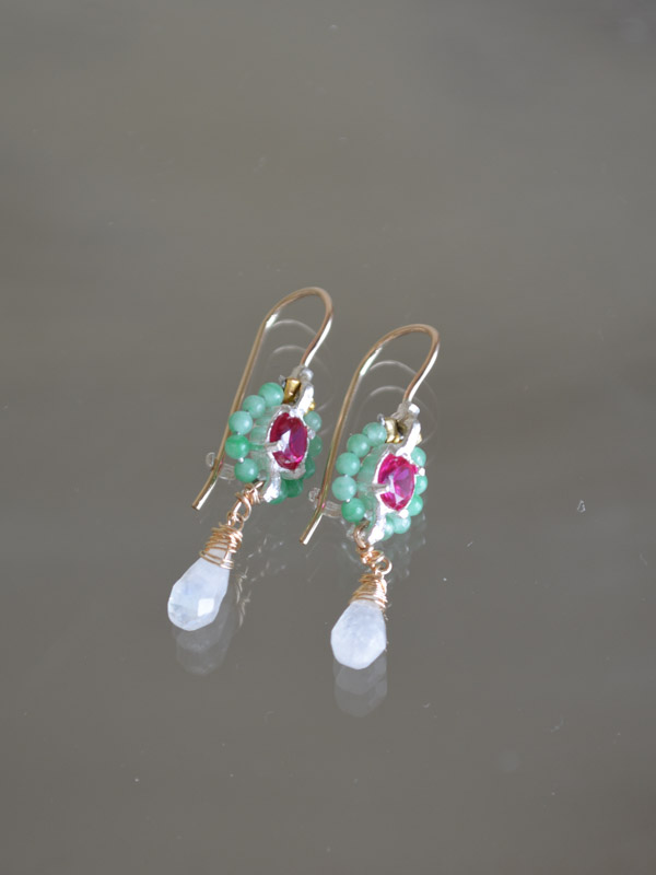 earrings Flower mini, aventurine and fuchsia crystal