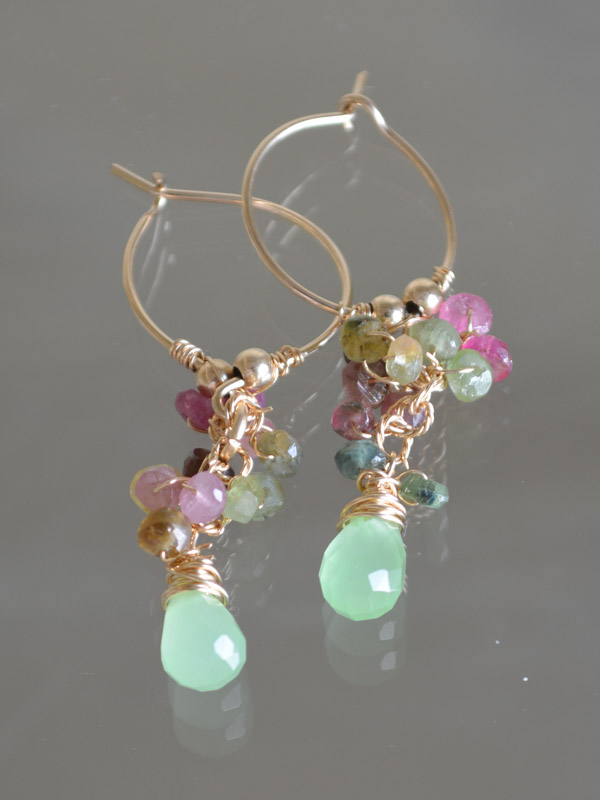 earrings Cluster tourmaline and green crystal