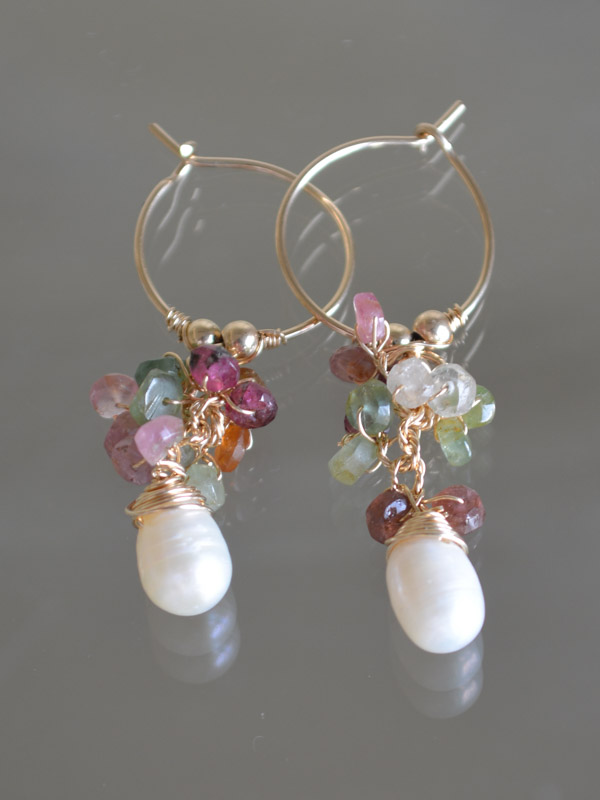 earrings Cluster tourmaline and pearl