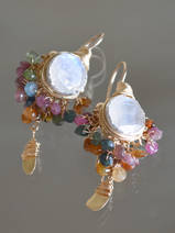 earrings Goddess tourmaline and moonstone