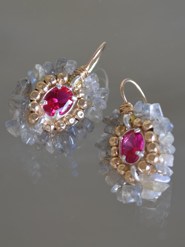 earrings Ethnic labradorite and fuchsia crystal