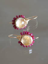 earrings Flower ruby and citrine