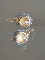 earrings Flower labradorite and citrine