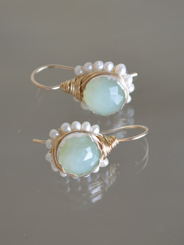 earrings Flower jade and pearls