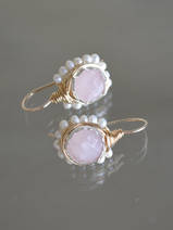 earrings Flower rose quartz and pearls