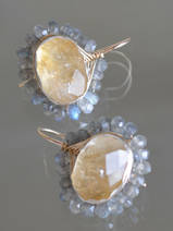 earrings Oval Mandala citrine and labradorite