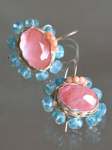 boucles d'oreilles Oval Mandala cherry quartz